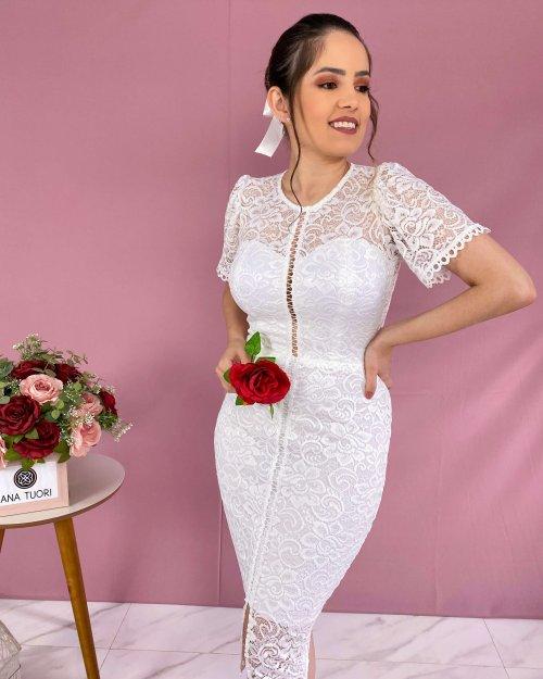 {Linda} Vestido Noiva Midi Manga Curta Detalhes em Guipure Formatura Casamento (cor Branco Off)
