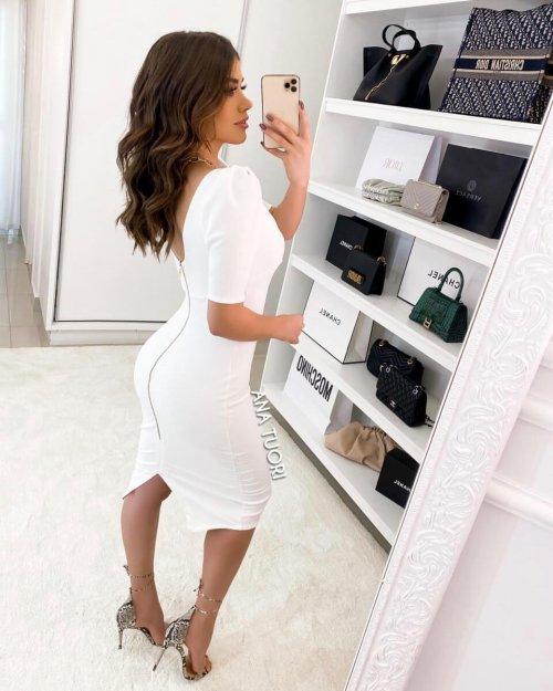 {Louise} Vestido Midi Manga 3/4 Tubinho Zíper nas Costas Formatura Casamento (cor Branco Off)
