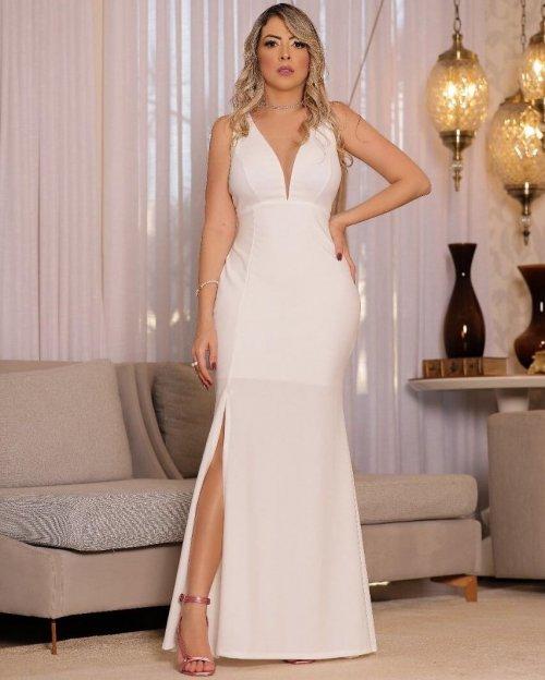 {Maressa} Vestido Noiva Longo Alça Fina Quádrupla Semi Sereia Decote Tule Casamento (cor Branco Off)