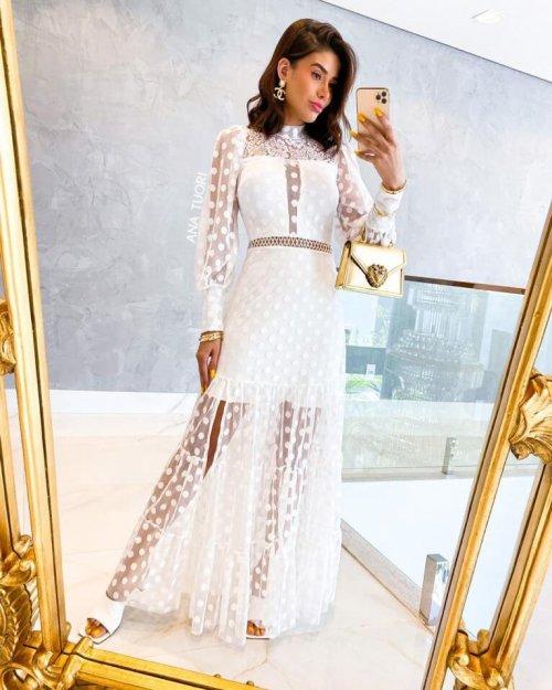 {Midiã} Vestido Longo Manga Longa Gola Alta Poá com Fenda Noiva Casamento (cor Branco Off)