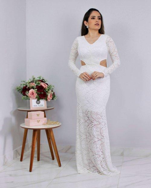 {Milena} Vestido Longo Sereia Manga Longa em Renda Aberto na Cintura Noiva Casamento (cor Branco Off)