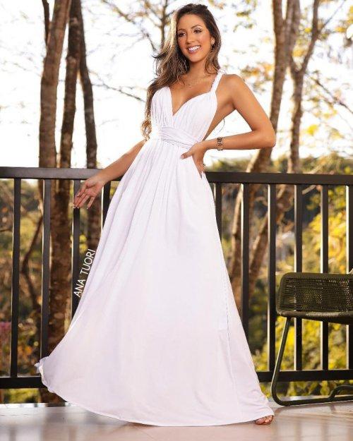 {Multiformas} Vestido Festa Longo Rodado Várias formas de Amarrar Noiva Casamento (cor Branco)