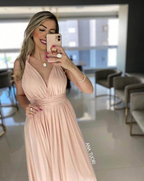 {Multiformas} Vestido Festa Longo Rodado Várias formas de Amarrar Madrinha Formatura (cor Rosé)