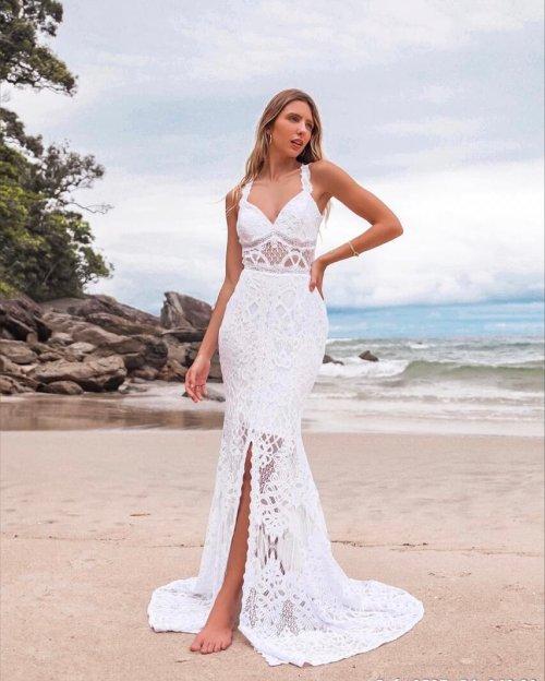 {Octávia} Vestido Noiva Longo Semi Sereia Alça com Fenda Frontal Casamento (cor Branco Off)