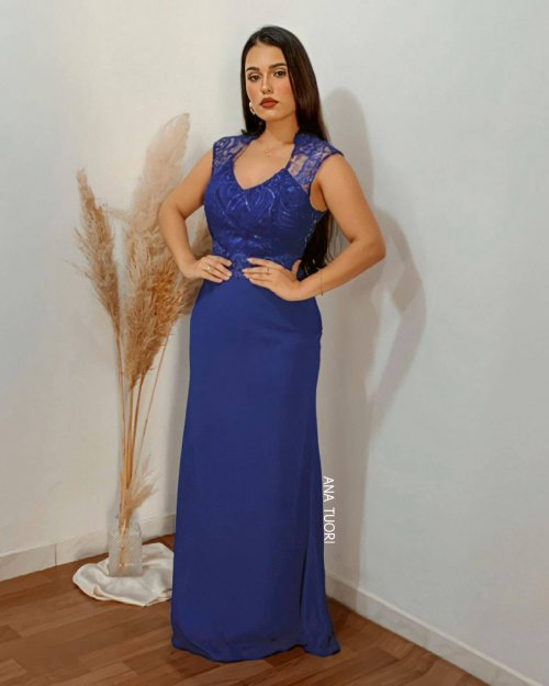 {Pabline} Vestido Festa Longo Evasê em Chiffon Tule Bordado Paetês Madrinha (cor Azul Royal)