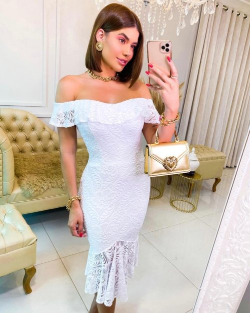 {Pâmela} Vestido Noiva Midi Ombro a Ombro em Renda com Babados Casamento Civil (cor Branco Off)