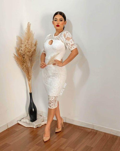 {Raissa} Vestido Noiva Midi Tubinho Manga Renda Casamento Civil Formatura (cor Branco Off)