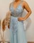 Miniatura - {Raven} Vestido Festa Longo Princesa Tule Bordado e Pedrarias Madrinha Formatura (cor Azul Serenity)