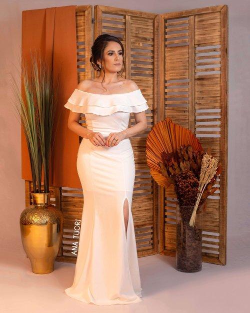 {Sabrina} Vestido Festa Longo Semi Sereia Ombro a Ombro Babados com Fenda Noiva Casamento (Cor Branco Off)