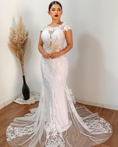 {Serena} Vestido Noiva Longo Semi Sereia Manga Copinho Tule Bordado e Pedrarias Casamento (Cor Branco)