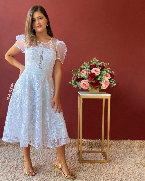 {Sônia} Vestido Midi Rodado Manga Curta Tule Bordado Noiva Casamento (cor Branco Off)