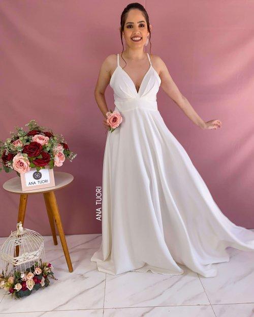 {Stella} Vestido Noiva Longo Rodado Alça Fina Decote Pregas com Máscara Casamento (cor Branco)