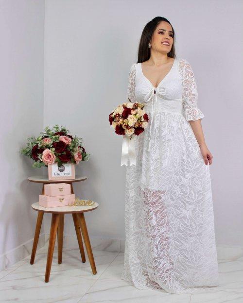 {Tairine} Vestido Longo Godê Rodado Decote de Amarrar Noiva Casamento (cor Branco Off)
