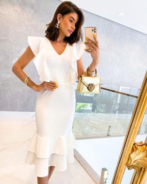 {Thainara} Vestido Midi Manga Soltinha Babados na Barra Noiva Casamento (cor Branco Off)