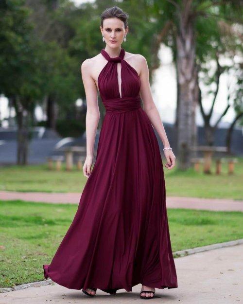 {Infinity} Vestido Festa Longo Princesa Rodado Várias Formas de Amarrar Madrinha Formatura (cor Marsala)