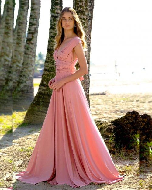 {Infinity} Vestido Festa Longo Princesa Rodado Várias Formas de Amarrar Madrinha Formatura (cor Rosé)
