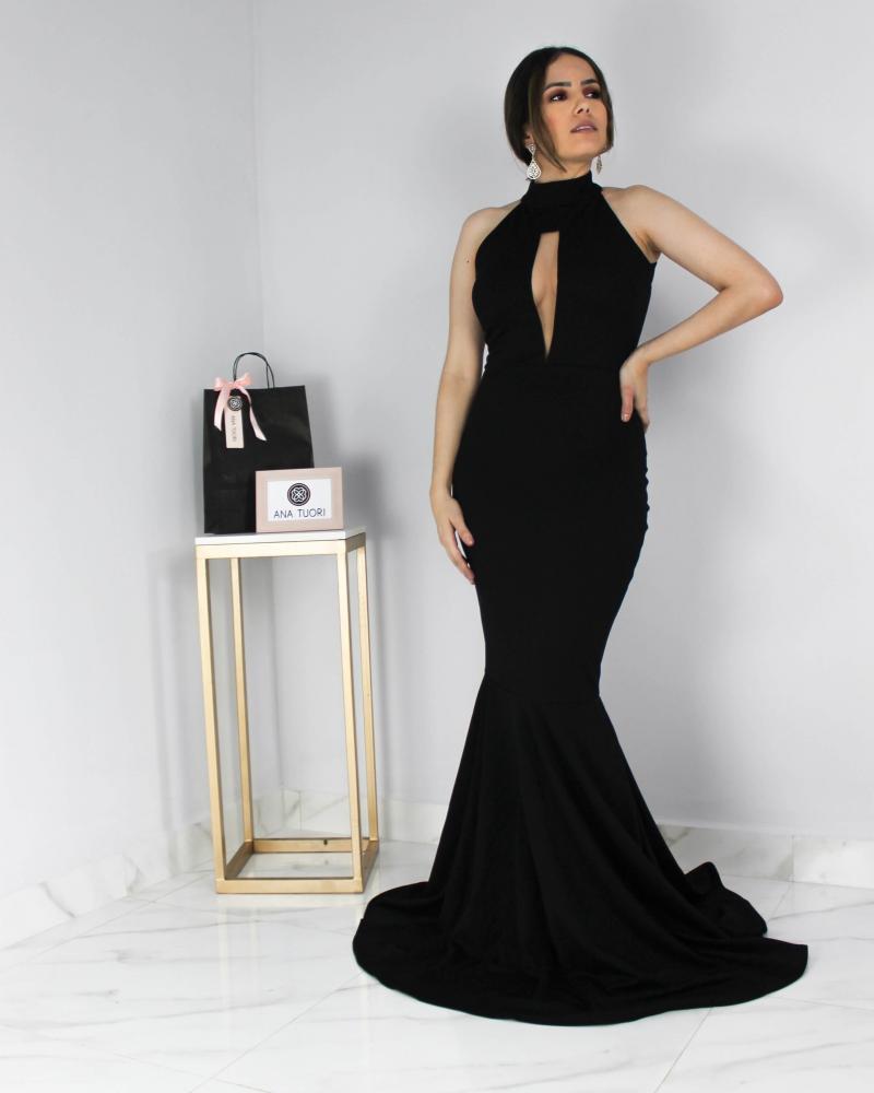 f5061bbe27  Alessandra  Vestido Festa Longo Sereia Gola Alta Decote em Tule Illusion  Madrinha Casamento Formatura (cor Preto)