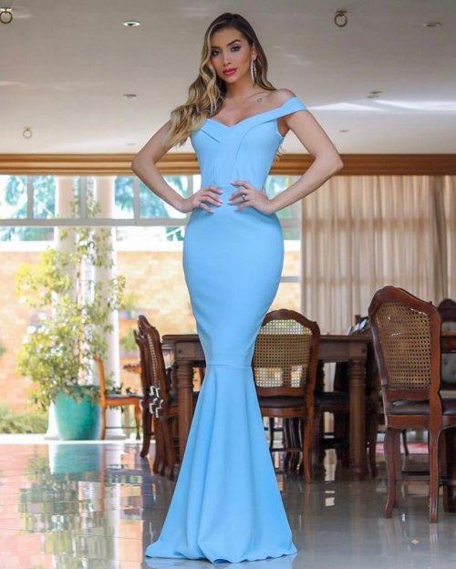 {Carolina} Vestido Festa Longo Sereia Ombro a Ombro Madrinha Casamento Formatura (cor Azul Serenity)