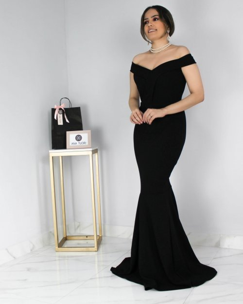 0e26cdf7a028 {Carolina} Vestido Festa Longo Sereia Ombro a Ombro Madrinha Casamento  Formatura (cor Preto