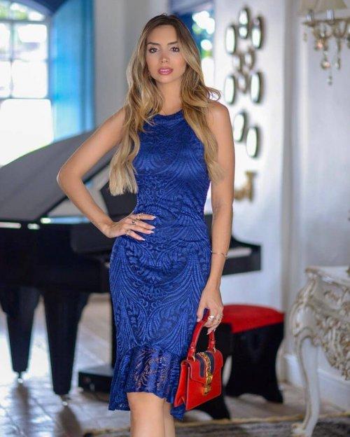 {Helena} Vestido Festa Midi Mullet em Renda com Babado na Barra Madrinha Casamento (cor Azul Royal)