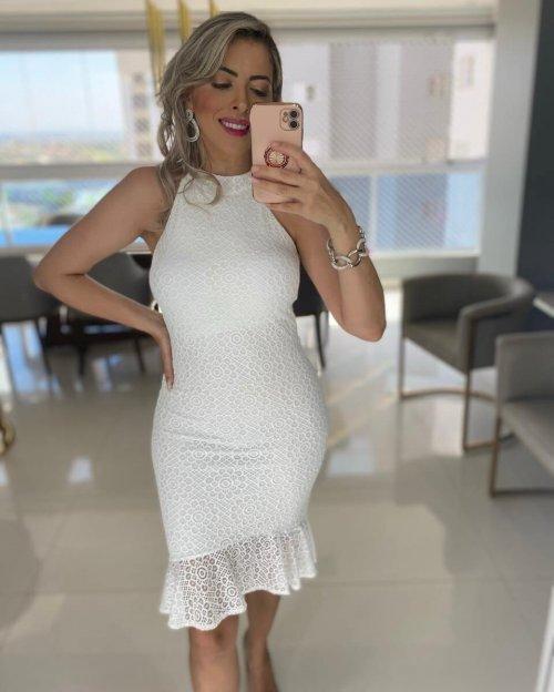 {Helena} Vestido Festa Midi Mullet em Renda com Babado na Barra Noiva Casamento Formatura (cor Branco Off)