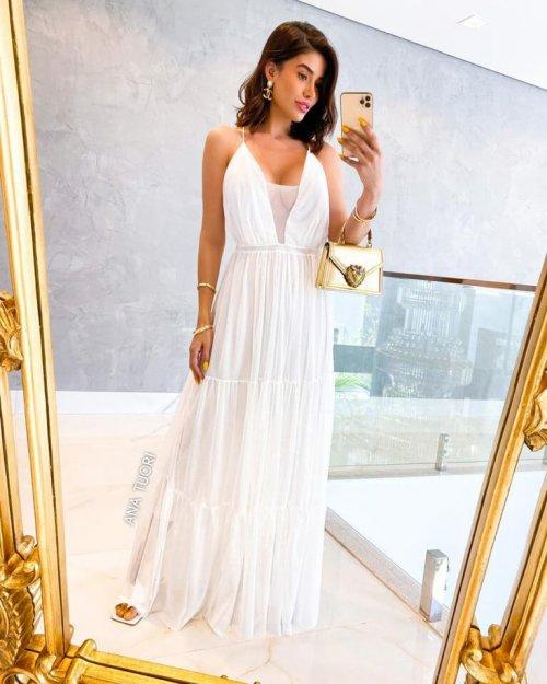 {Yohana} Vestido Longo Rodado Tule Alcinha Saia Três Marias Noiva Casamento (cor Branco Off)