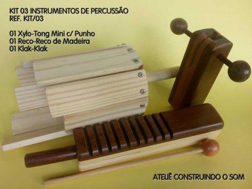 Kit com 03 Instrumentos de Percussão