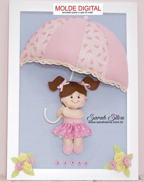 Molde Menina com Guarda-chuva em PDF