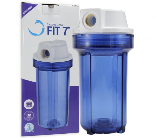 "Carcaça do Filtro Fit 7"" Azul Rosca 1/2 SEM ELEMENTO FILTRANTE - Planeta Água"