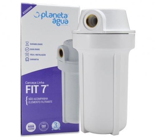 "Carcaça do Filtro Fit 7"" Branca Rosca 1/2 SEM ELEMENTO FILTRANTE - Planeta Água"