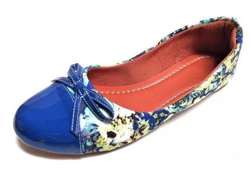 Sapatilha Bico Redondo Azul Floral - C008