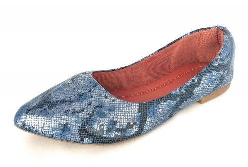 Sapatilha Bico Fino Azul Reptil NP006