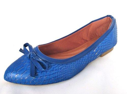 Sapatilha Bico Fino Reptil Azul Turquesa VDT015