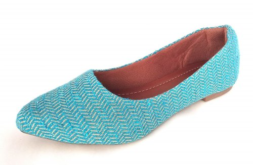 Sapatilha Bico Fino Tecido Azul NP002