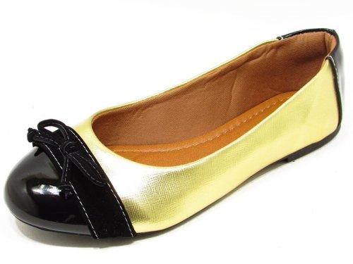 Sapatilha Bico Redondo Dourado e Preto - 5425