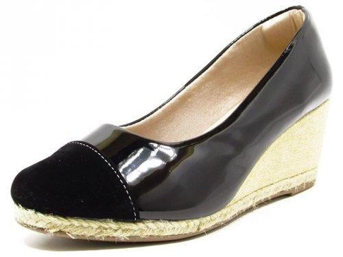 Sapato Anabela Verniz Preto Bico Nobuck - 9575 Cass