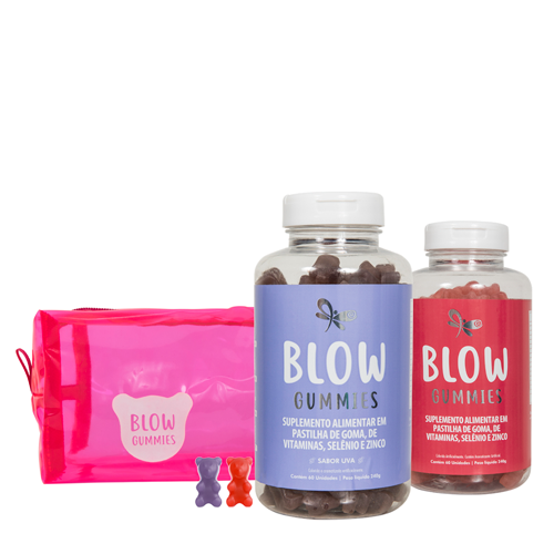 Blow Gummies 120 Dias de Tratamento Sabores Morango Uva