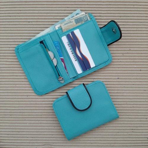 Carteira Bicolor - Azul Turquesa com Café