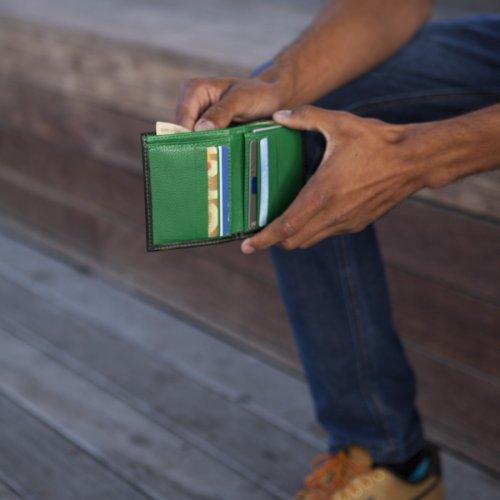 Carteira Masculina Compacta - Preto com Verde Bandeira