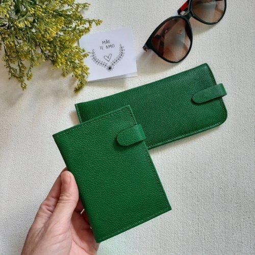 Carteira Pequena com Ímã + Porta Óculos - Verde Bandeira