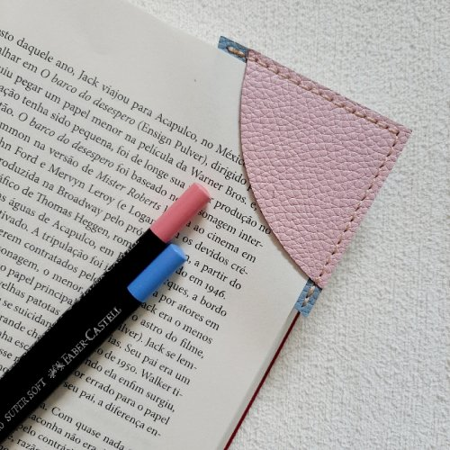 Marcador de Páginas - Rosa Bebê com Azul Céu