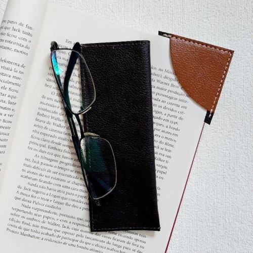 Porta Óculos de Leitura + Marcador de Páginas - Café com Caramelo