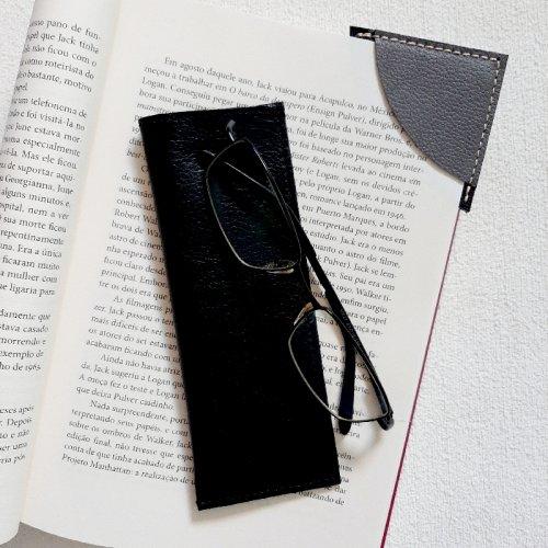Porta Óculos de Leitura + Marcador de Páginas - Preto com Cimento