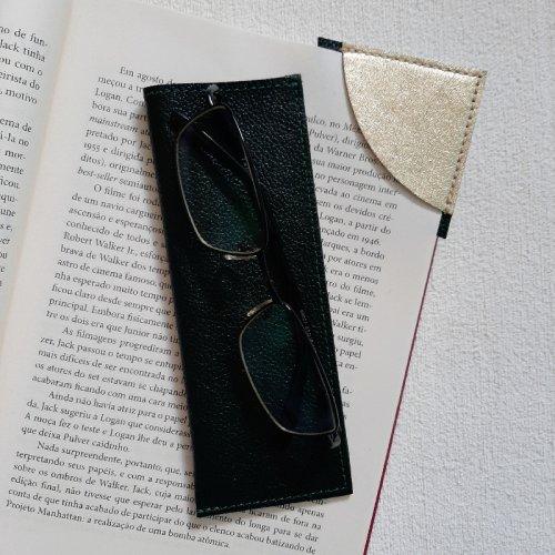 Porta Óculos de Leitura + Marcador de Páginas - Verde Escuro com Metalizado