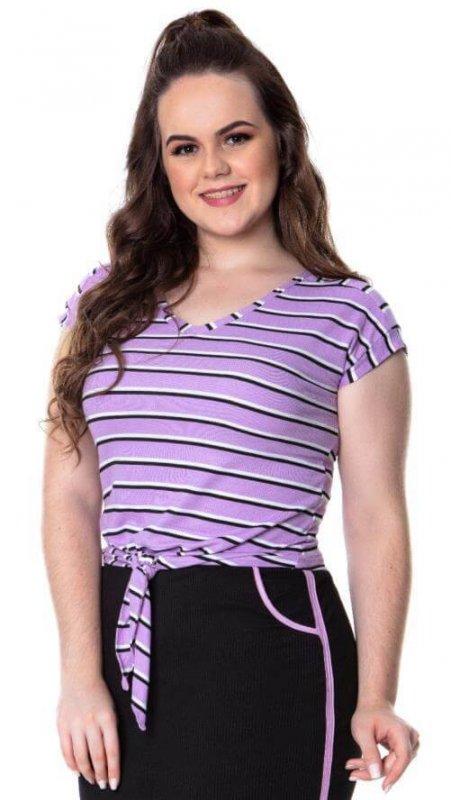 Blusa Lilas Plus Size Detalhe Amarração Hadaza