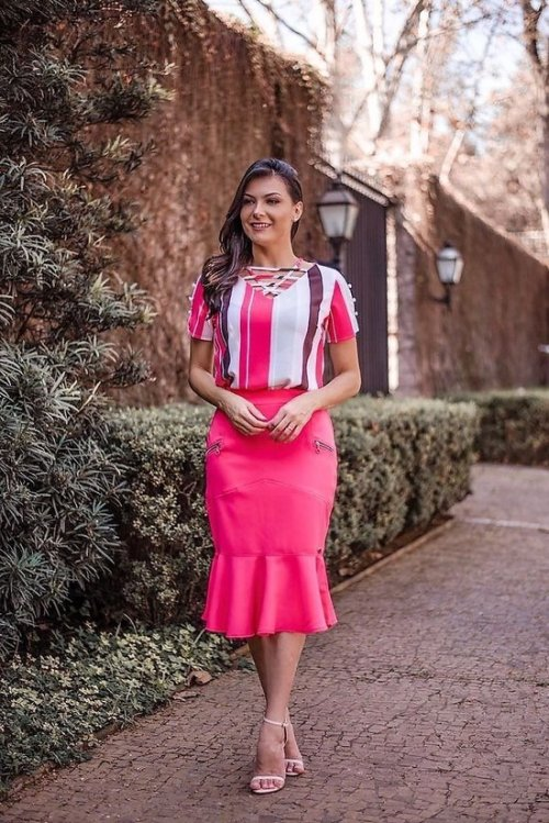 Blusa Listras Pink em Crepe Luciana Pais