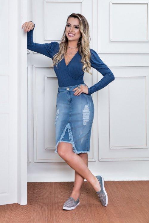 Body Malha Canelada Azul Puro Sharmy