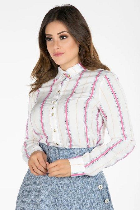 Camisa com listras verticais Azul Rosa e Preta Via Tolentino Outono inverno