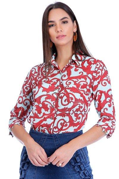 Camisa de Crepe Com Estampa de Arabescos Via Tolentino