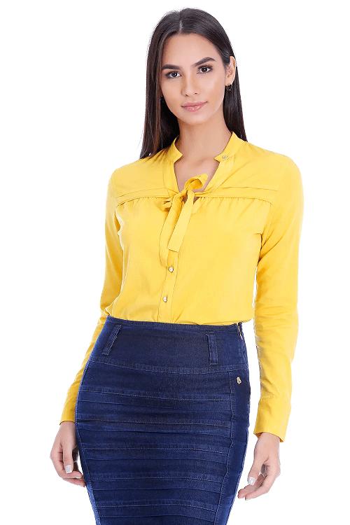 Camisa de Viscose Com Amarração Amarela  Via Tolentino